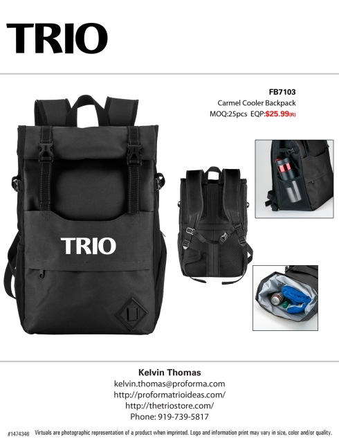 600D Roll Top Cooler Backpack. Features A Leak Resistant And Heat Sealed Peva Insulated Interior; Open Front Compartment With Mesh Organizational Pockets; Front Zippered Compartment; Mesh Side Pocket For Bottles; Zippered Side Pocket; Compression Straps; A Roll Top Lid With Snap Buttons And Buckle Closure; And Padded Adjustable Straps With Sternum Strap. - See more at: http://www.swedausa.com/en_us/product/carmel-cooler-backpack-0#sthash.fbmCC3yo.dpuf