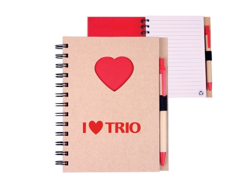 Recycled hard cover wire-bound notebook with die cut heart cover design. Includes 80 lined sheets of 100% post consumer recycled paper with an elastic pen loop and matching recycled black ink pen (with red plastic clip and trim). Cover is made of 80% post-consumer recycled materials, metal spiral binding is made of 90% post-consumer recycled materials, and pen barrel is made of 100% post-consumer recycled paper. NOTE: Optional pen imprint available, additional fees apply. Orders with imprinted pens ship with jotters and pens separately.