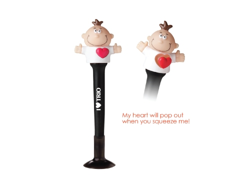 Non-retracting ballpoint pen of ABS plastic with color-coordinated PVC suction cup base   Squeeze the head to make the heart pop out