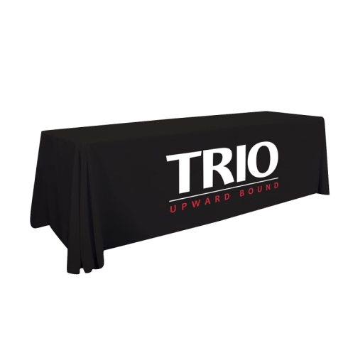 Our most popular table cover offers a simple way to get your message noticed. Covers 4 sides of the table. Flame Retardant, Polyester Poplin fabric. Machine washable and wrinkle resistant. Do not dry clean and do not iron. Product Size : 96 in (W) x 28 in (H) x 30 in (D)